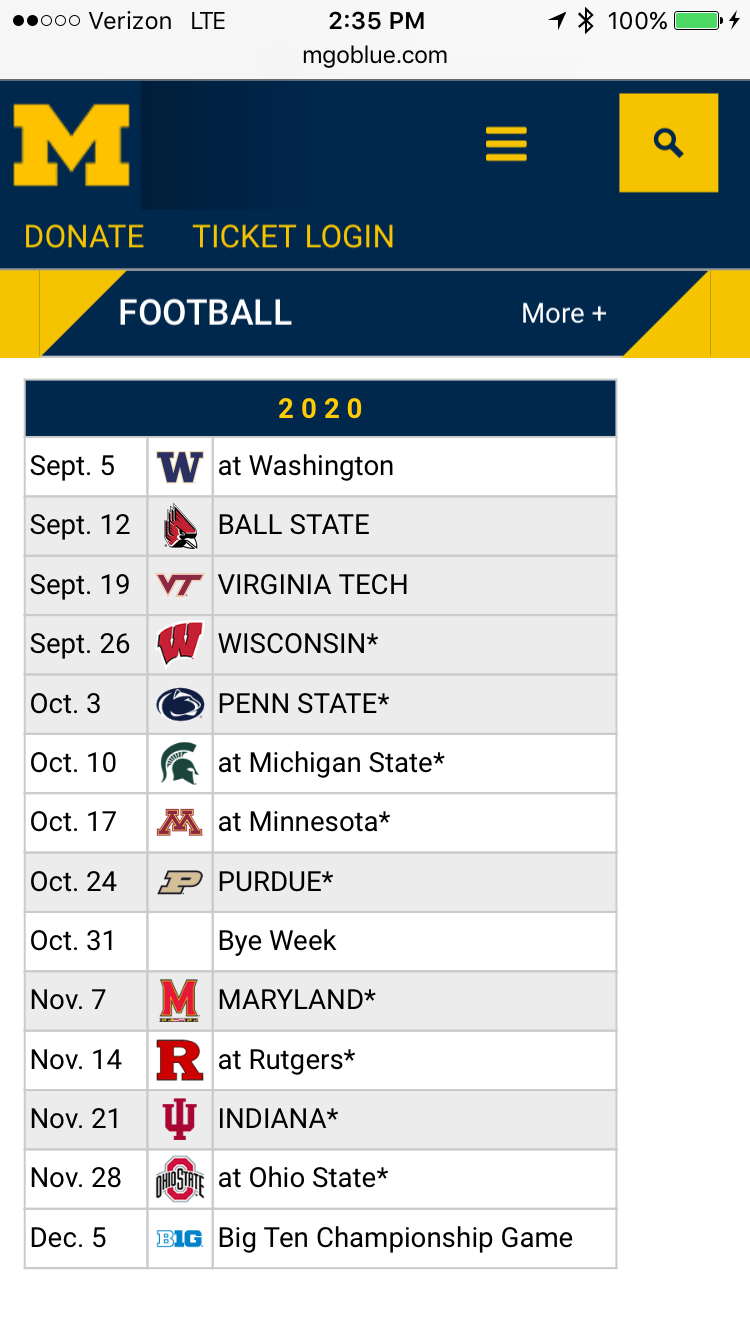 Future Michigan Football Schedules Michigan Football Talk Discussions On Umgoblue Com By Fans For Fans Est 1999 Umgoblue Com By Fans For Fans Est 1999