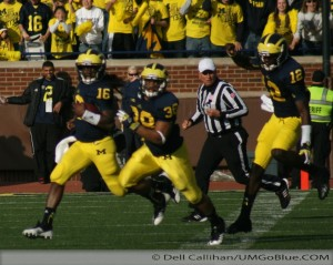 M FOOTBALL 2012: SEASON'S LAST HOME GAME PROVIDES THE FINAL OPPORTUNITY FOR 23 SENIORS TO ENJOY MICHIGAN STADIUM AND ITS ATMOSPHERE, WHILE OBTAINING A NEEDED WIN WOLVERINES 42, HAWKEYES 17. 2012 UMIowa 031 300x239 Devin Gardner Denard Robinson 2012