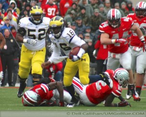 THE GAME THE WOLVERINES TRAVELED TO COLUMBUS TO WREST AN UNBEATEN REGULAR SEASON FROM THE BUCKEYES, AND POSSIBLY A SPOT IN THE BIG TEN TITLE GAME, BUT DID NOT PREVAIL: MICHIGAN 21, OHIO 26. 2012 UMOSU 026 300x239 The GAME Ohio State Ohio 2012