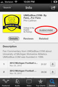 How to Subscribe to the UMGoBlue.COM Podcast on IOS 6 (iPhone, iPad) iTunes 051 200x300 iTunes