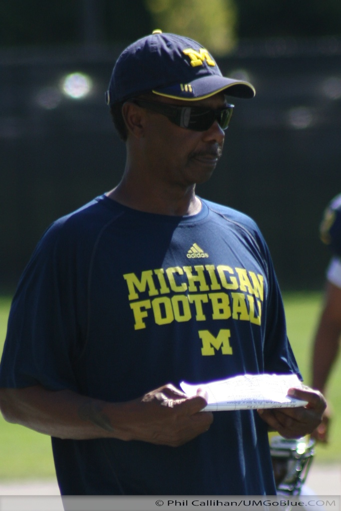 Michigan Wolverines  Raiders of the Lost Books 2011 UMFootball Practice 0815 014 Rich Rodriguez Lloyd Carr Fred Jackson Chris Webber Bruce Madej